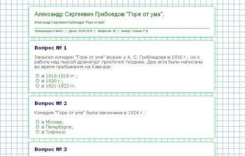 тест по литературе Грибоедов Горе от ума
